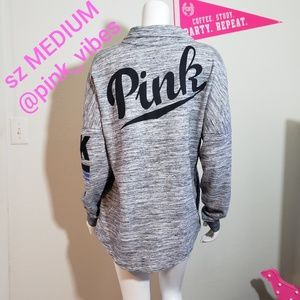 VS PINK M Marl Grey Snap Campus Logo Crew